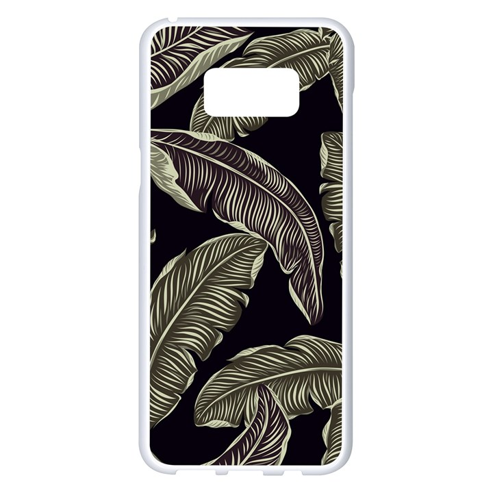 Jungle Leaves Tropical Pattern Samsung Galaxy S8 Plus White Seamless Case
