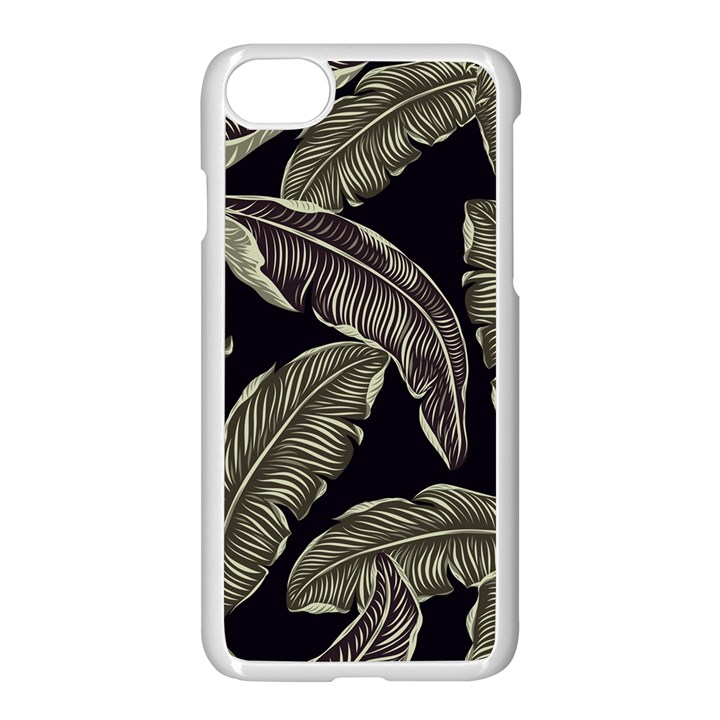 Jungle Leaves Tropical Pattern Apple iPhone 8 Seamless Case (White)