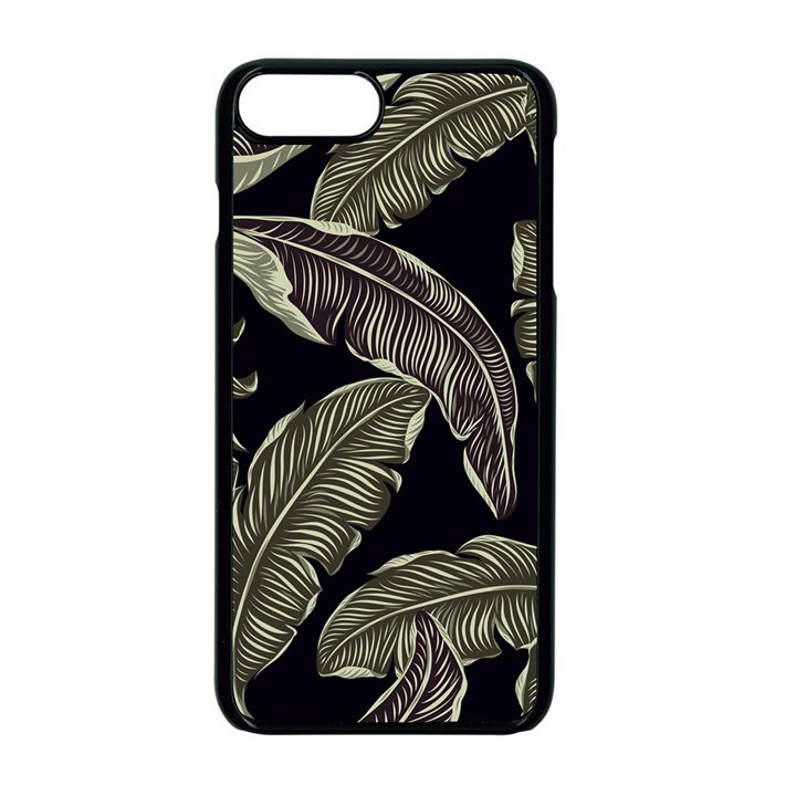 Jungle Leaves Tropical Pattern Apple iPhone 8 Plus Seamless Case (Black)