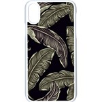 Jungle Leaves Tropical Pattern Apple iPhone X Seamless Case (White) Front
