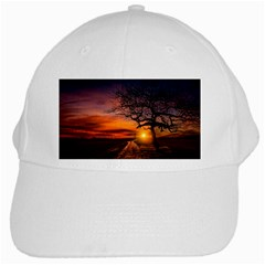 Lonely Tree Sunset Wallpaper White Cap