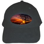 Lonely Tree Sunset Wallpaper Black Cap Front