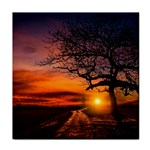 Lonely Tree Sunset Wallpaper Tile Coasters Front