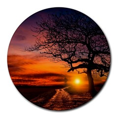 Lonely Tree Sunset Wallpaper Round Mousepads