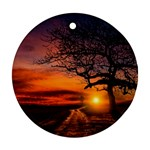 Lonely Tree Sunset Wallpaper Ornament (Round) Front