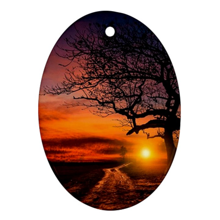 Lonely Tree Sunset Wallpaper Ornament (Oval)