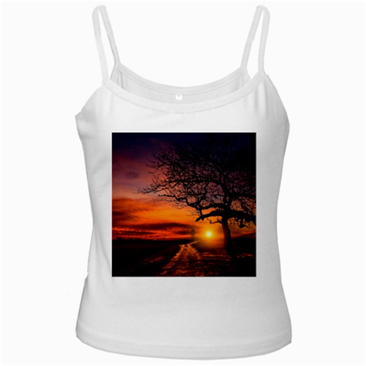 Lonely Tree Sunset Wallpaper White Spaghetti Tank