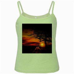 Lonely Tree Sunset Wallpaper Green Spaghetti Tank