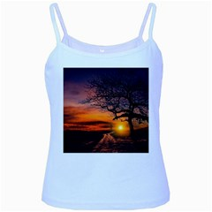 Lonely Tree Sunset Wallpaper Baby Blue Spaghetti Tank