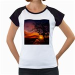 Lonely Tree Sunset Wallpaper Women s Cap Sleeve T Front
