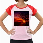 Lonely Tree Sunset Wallpaper Women s Cap Sleeve T-Shirt Front