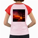Lonely Tree Sunset Wallpaper Women s Cap Sleeve T-Shirt Back