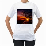 Lonely Tree Sunset Wallpaper Women s T-Shirt (White) (Two Sided) Front