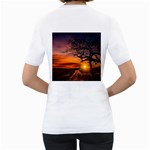Lonely Tree Sunset Wallpaper Women s T-Shirt (White) (Two Sided) Back