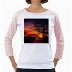 Lonely Tree Sunset Wallpaper Girly Raglan Front
