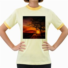 Lonely Tree Sunset Wallpaper Women s Fitted Ringer T-Shirt