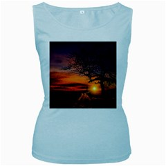 Lonely Tree Sunset Wallpaper Women s Baby Blue Tank Top