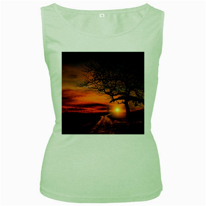 Lonely Tree Sunset Wallpaper Women s Green Tank Top