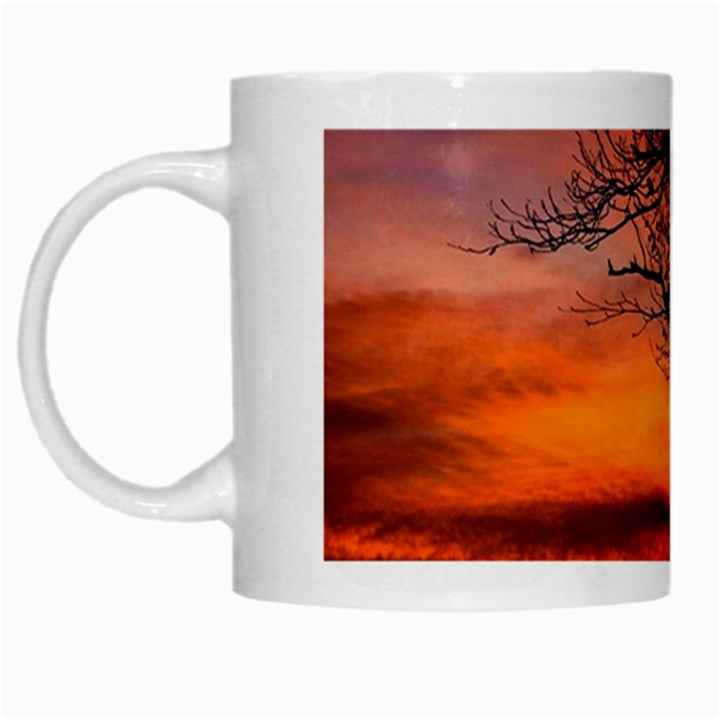 Lonely Tree Sunset Wallpaper White Mugs
