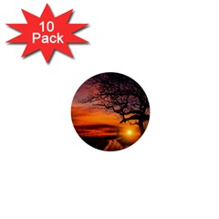 Lonely Tree Sunset Wallpaper 1  Mini Buttons (10 pack)