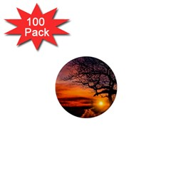 Lonely Tree Sunset Wallpaper 1  Mini Magnets (100 pack)