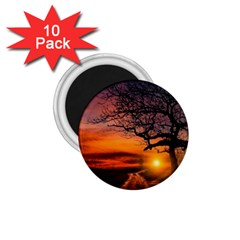 Lonely Tree Sunset Wallpaper 1.75  Magnets (10 pack)
