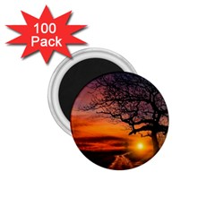 Lonely Tree Sunset Wallpaper 1.75  Magnets (100 pack)