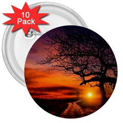 Lonely Tree Sunset Wallpaper 3  Buttons (10 pack)