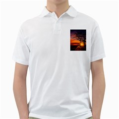 Lonely Tree Sunset Wallpaper Golf Shirt