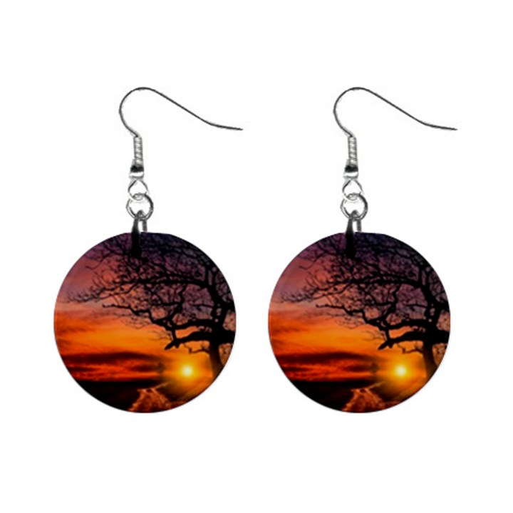 Lonely Tree Sunset Wallpaper Mini Button Earrings