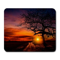 Lonely Tree Sunset Wallpaper Large Mousepads