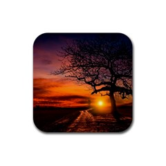 Lonely Tree Sunset Wallpaper Rubber Square Coaster (4 pack)