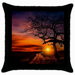 Lonely Tree Sunset Wallpaper Throw Pillow Case (Black)