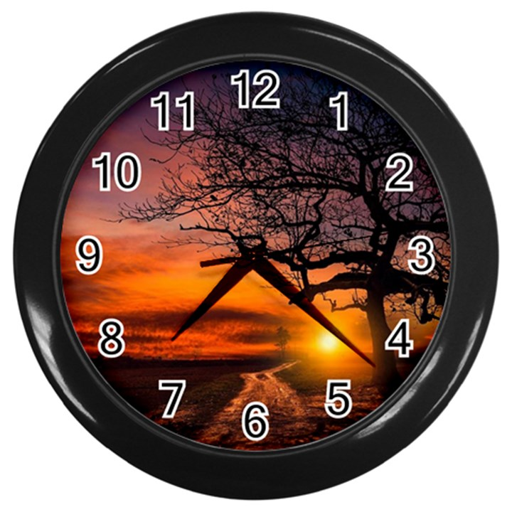 Lonely Tree Sunset Wallpaper Wall Clock (Black)