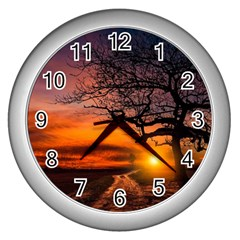 Lonely Tree Sunset Wallpaper Wall Clock (Silver)