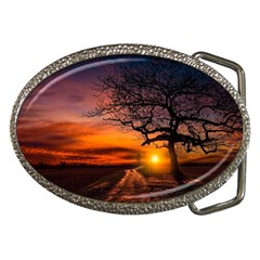 Lonely Tree Sunset Wallpaper Belt Buckles