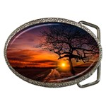 Lonely Tree Sunset Wallpaper Belt Buckles Front
