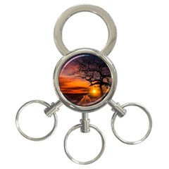 Lonely Tree Sunset Wallpaper 3-Ring Key Chains