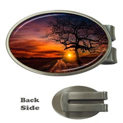 Lonely Tree Sunset Wallpaper Money Clips (Oval)