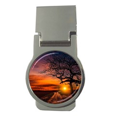 Lonely Tree Sunset Wallpaper Money Clips (Round)