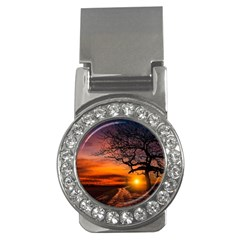 Lonely Tree Sunset Wallpaper Money Clips (CZ)