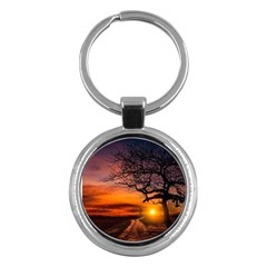 Lonely Tree Sunset Wallpaper Key Chains (Round)