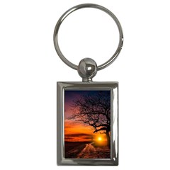 Lonely Tree Sunset Wallpaper Key Chains (Rectangle)