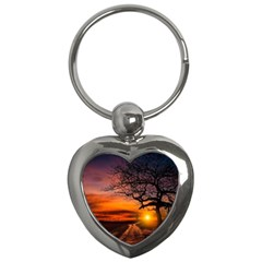 Lonely Tree Sunset Wallpaper Key Chains (Heart)