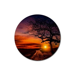 Lonely Tree Sunset Wallpaper Rubber Round Coaster (4 pack)