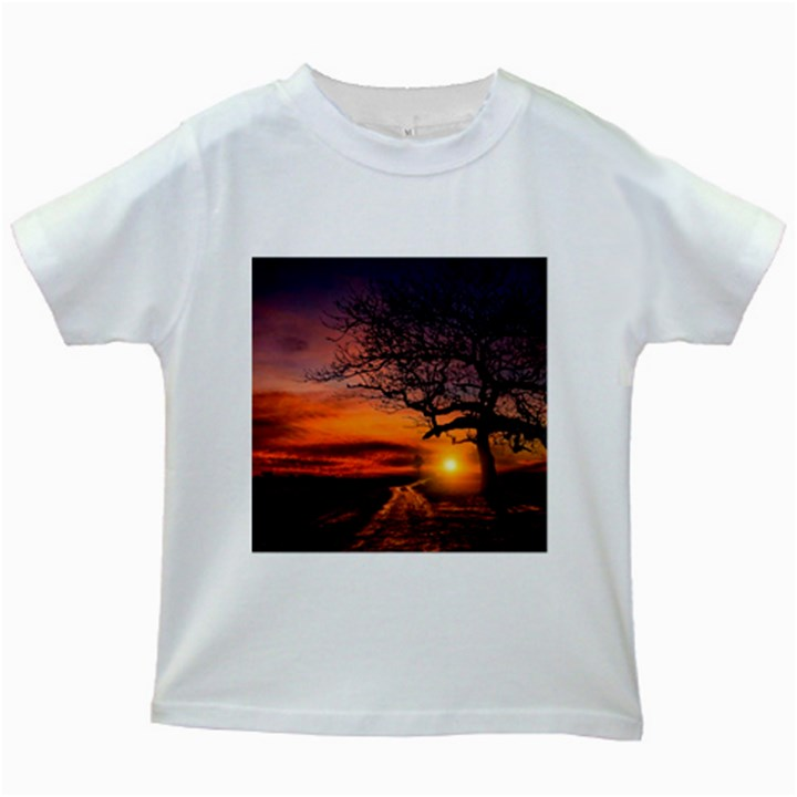 Lonely Tree Sunset Wallpaper Kids White T-Shirts