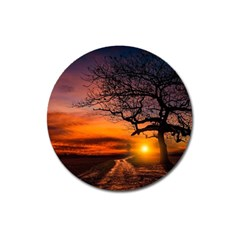 Lonely Tree Sunset Wallpaper Magnet 3  (round)