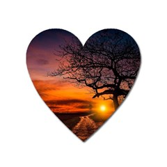 Lonely Tree Sunset Wallpaper Heart Magnet