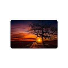 Lonely Tree Sunset Wallpaper Magnet (Name Card)