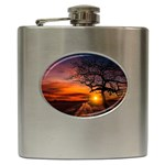 Lonely Tree Sunset Wallpaper Hip Flask (6 oz) Front